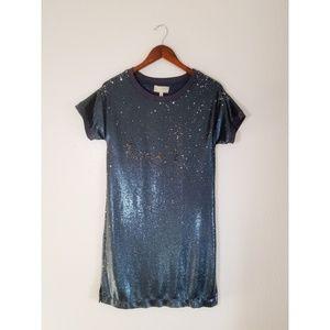 ANTHROPOLOGIE MOULINETTE SOEURS Blue Sequin Dress
